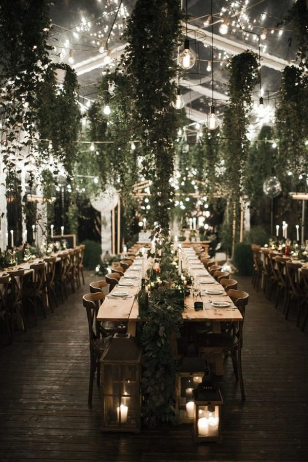 hanging lights and greenery for wedding reception