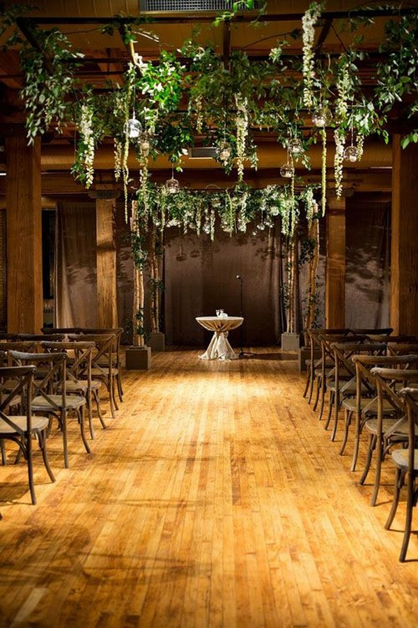 industrial greenery wedding ceremony ideas