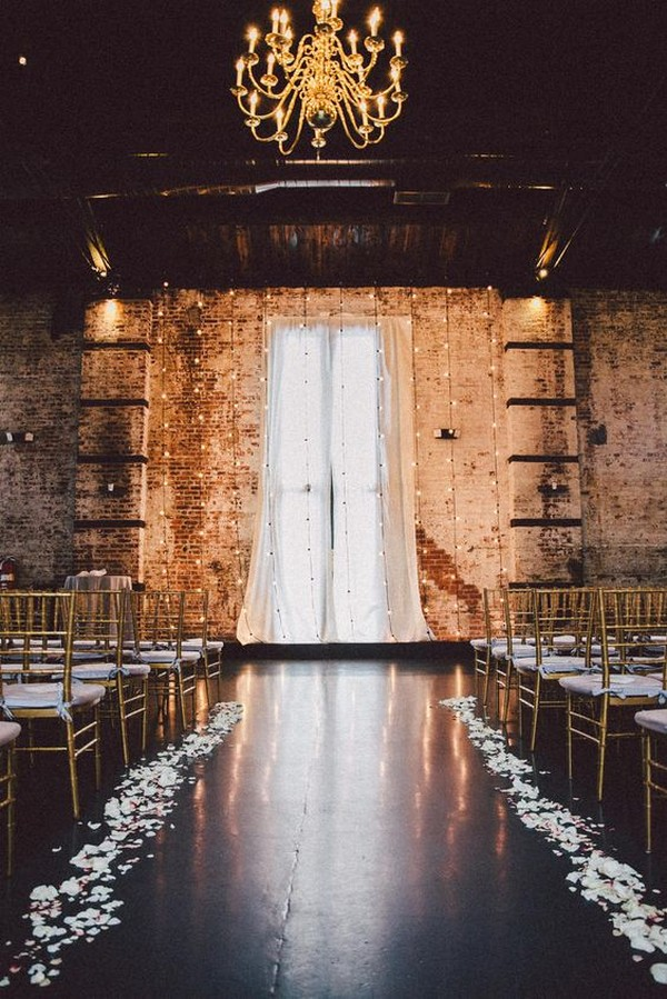 industrial loft wedding ceremony ideas with string lights