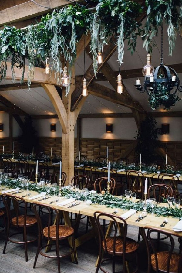 industrial wedding reception ideas with greenery chandeliers