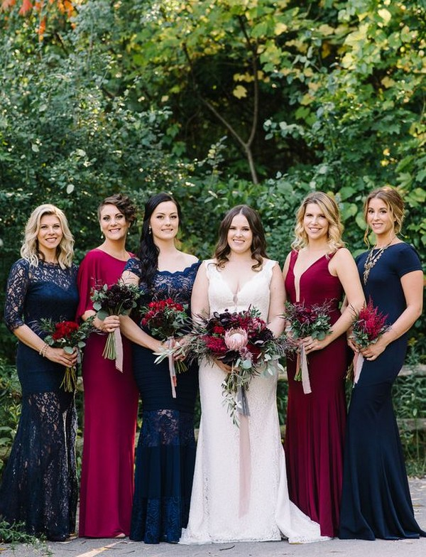 jewelry tones fall mismatched bridesmaid dresses
