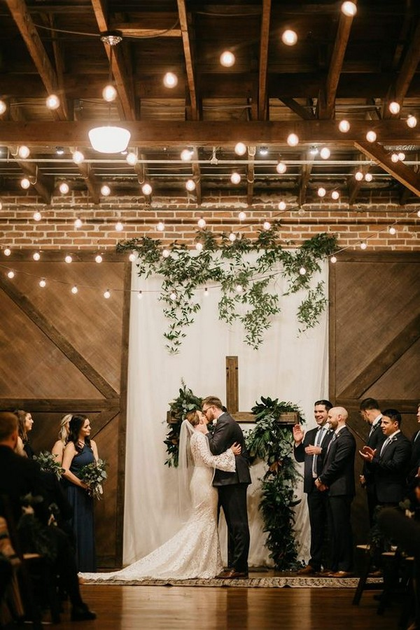 loft wedding ceremony ideas with lights