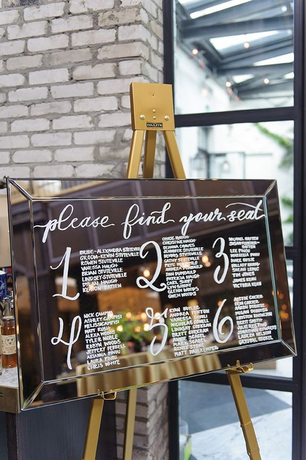 mirror wedding seating chart ideas