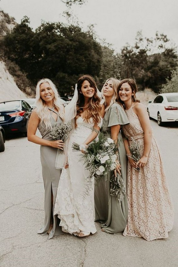 mismatched bridesmaid dresses in gray, sage green and ivory