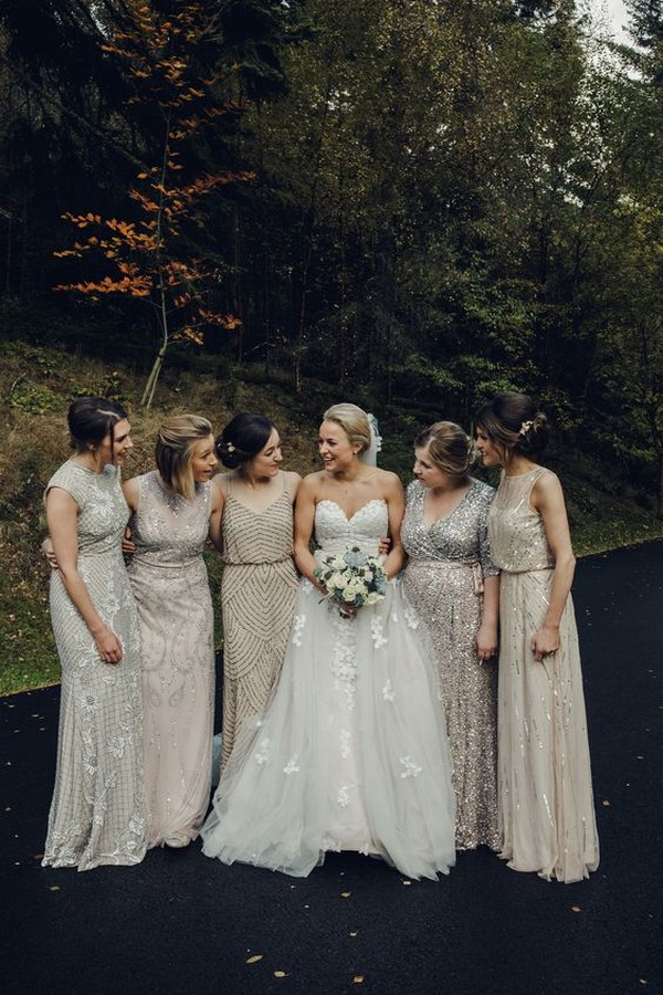 mismatched sequined neutral bridesmaid dresses