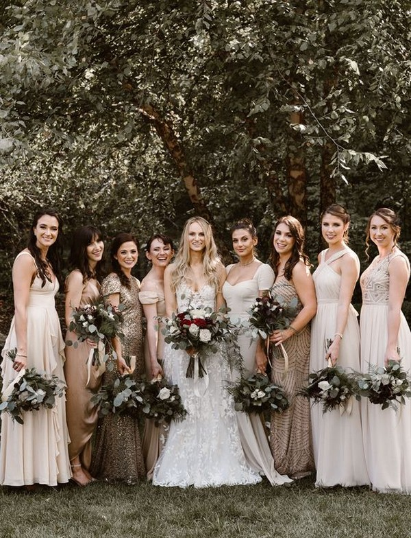 mix and match bridesmaid dresses in nude colors