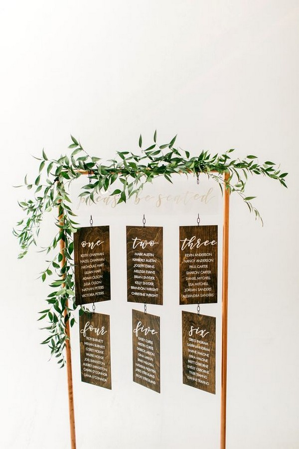 modern hanging wedding seating chart ideas