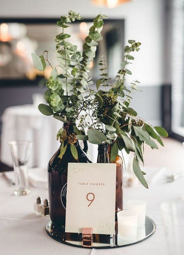 Modern Simple Wedding Centerpiece With Eucalyptus