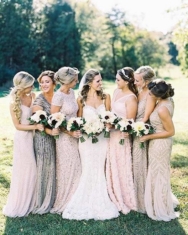 neutral sequins mismatched bridesmaid dresses