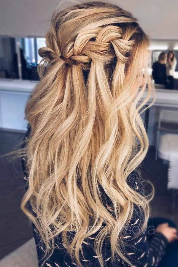 pretty braided half up half down wedding hairstyles