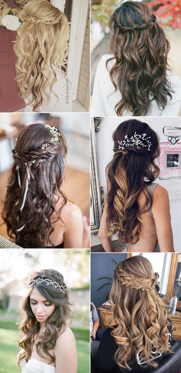 pretty half up half down wedding hairstyles