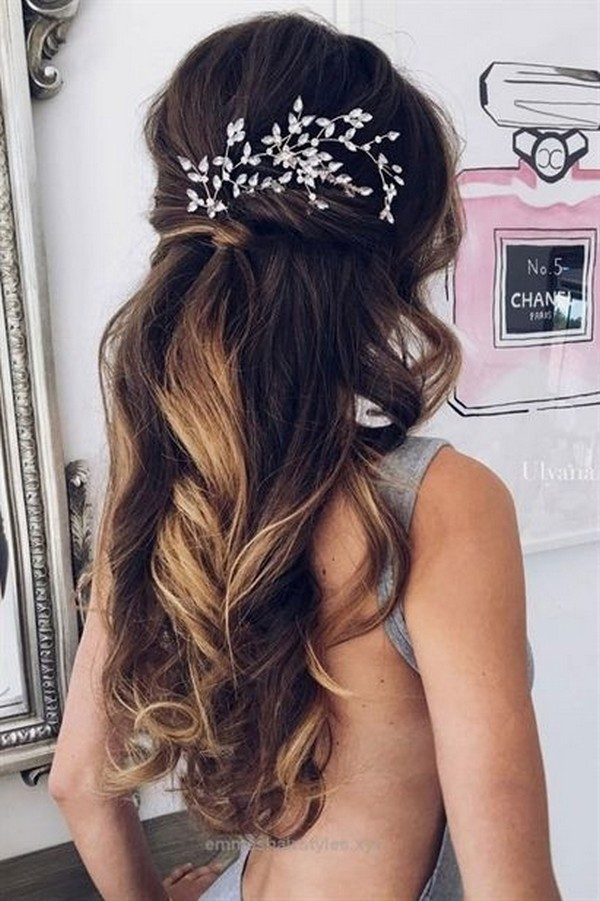 romantic waves half up half down wedding hairstyle for long hair