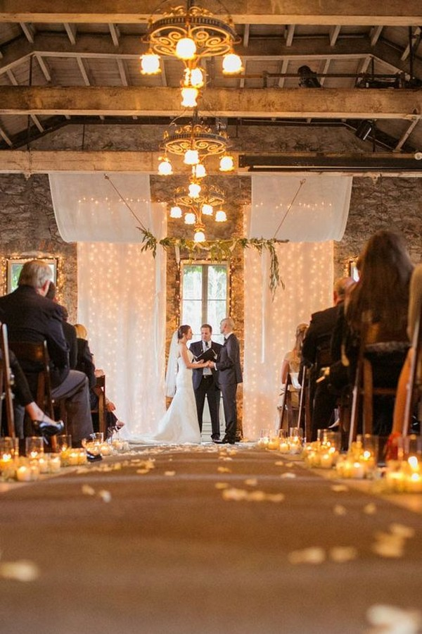 rustic candlelit wedding ceremony decoration ideas in loft