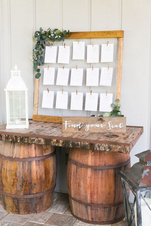 rustic wedding seating chart display ideas