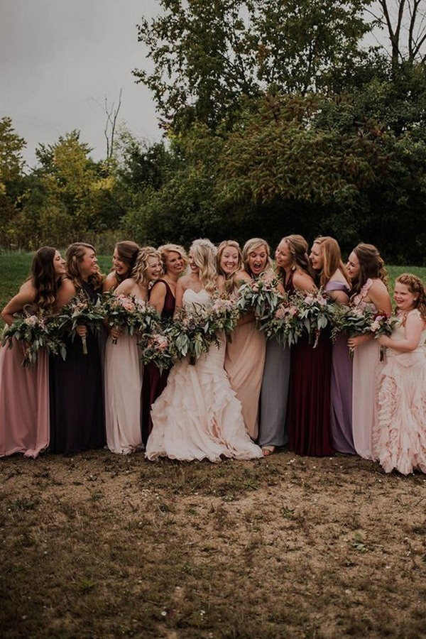 shades of blush and lavender mismatched bridesmaid dresses