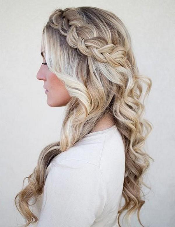 side swept dutch braid half up half down wedding hairstyle