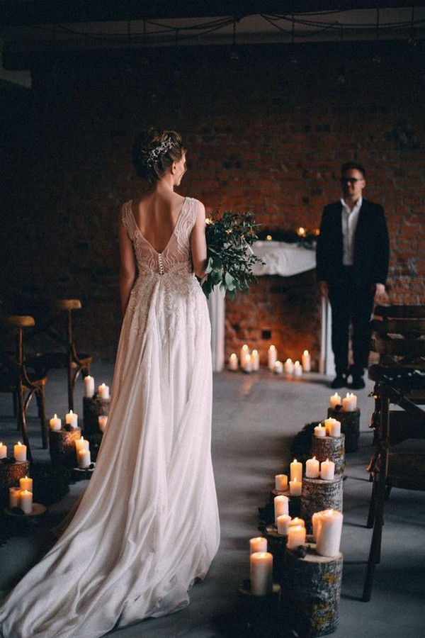 simple chic loft wedding ceremony with candles