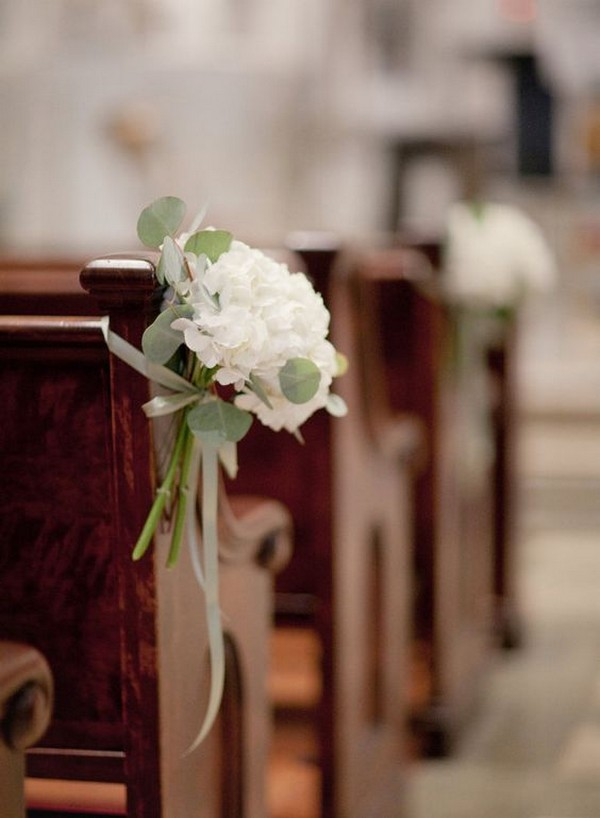 simple elegant church pew end wedding aisle decoration ideas