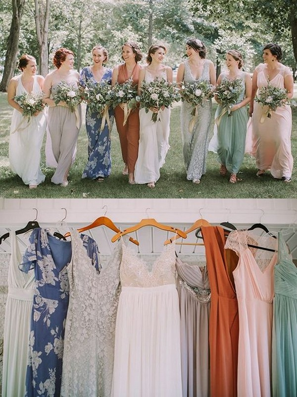 spring summer mismatched bridesmaid dresses