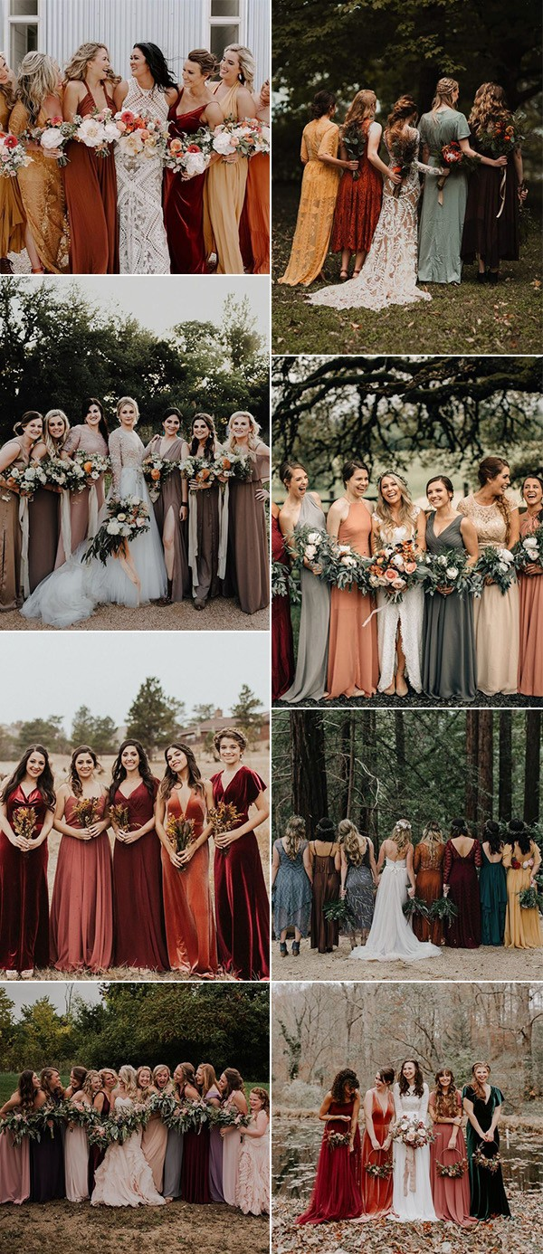 trending mix and match bridesmaid dresses for fall weddings