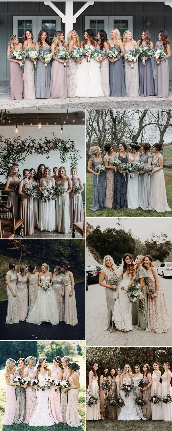 trending neutral mismatched bridesmaid dresses for 2019