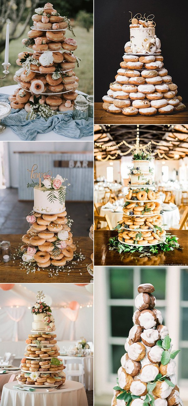 trending wedding cake ideas with donut tower