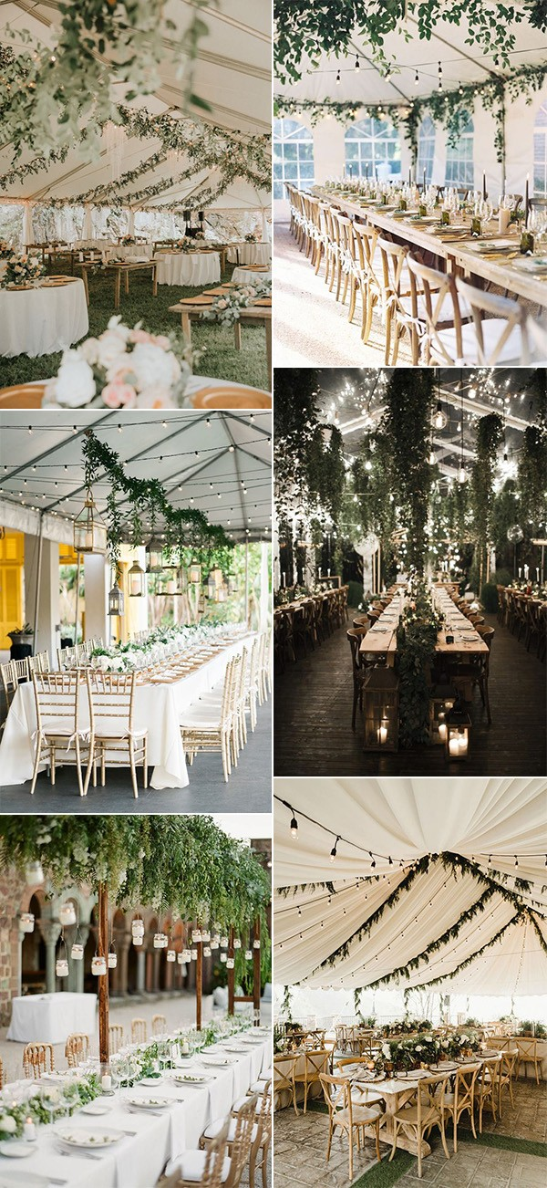 trending wedding reception ideas with lights and greenery