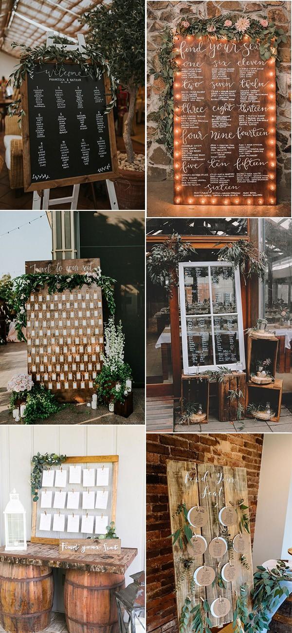 trending wedding table seating chart display ideas