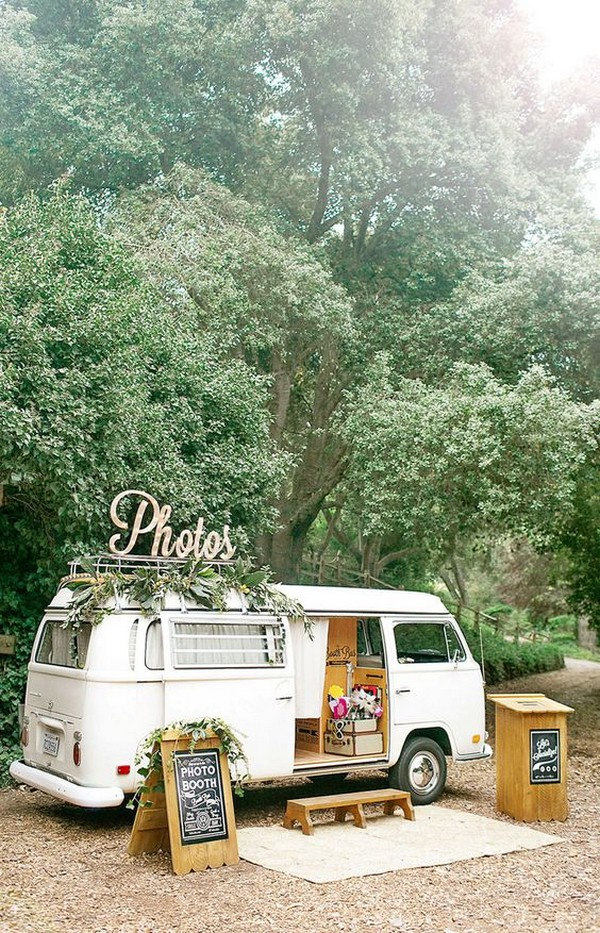 unique vintage bus photo booth backdrop ideas