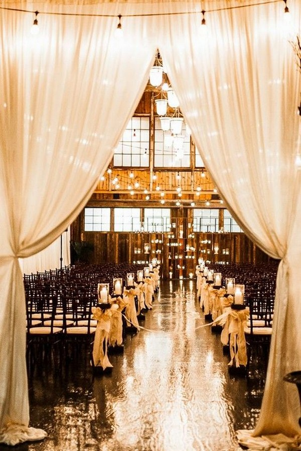 urban loft wedding ceremony decoration ideas with lights