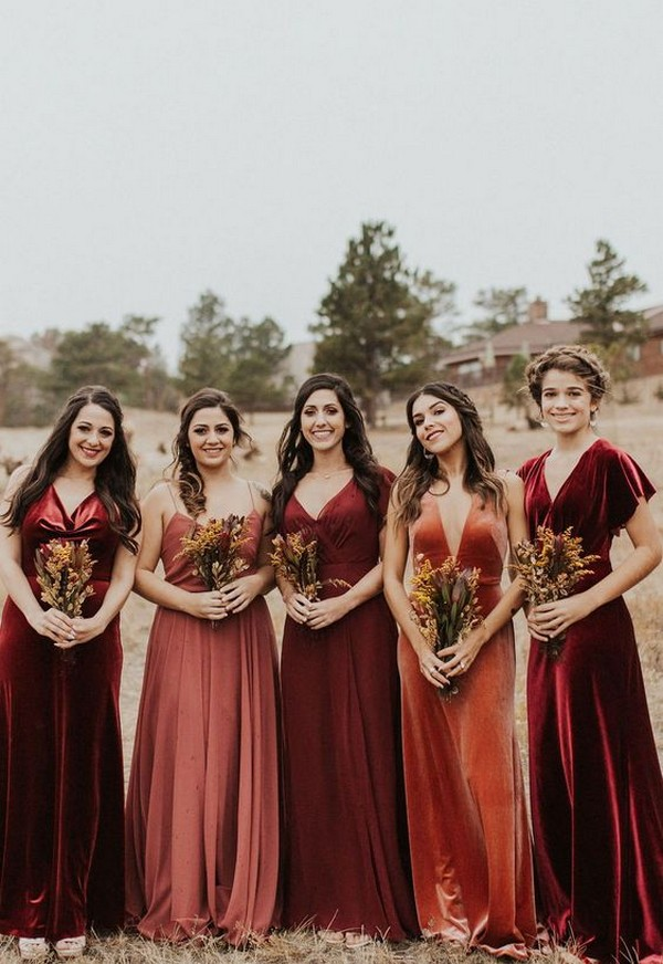velvet mismatched fall bridesmaid dresses