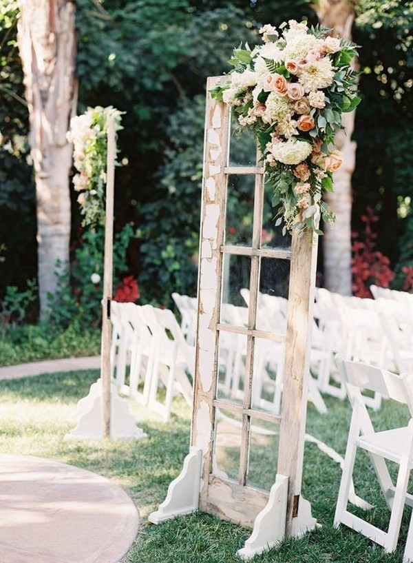 vintage chic wedding photo booth backdrop with old windows