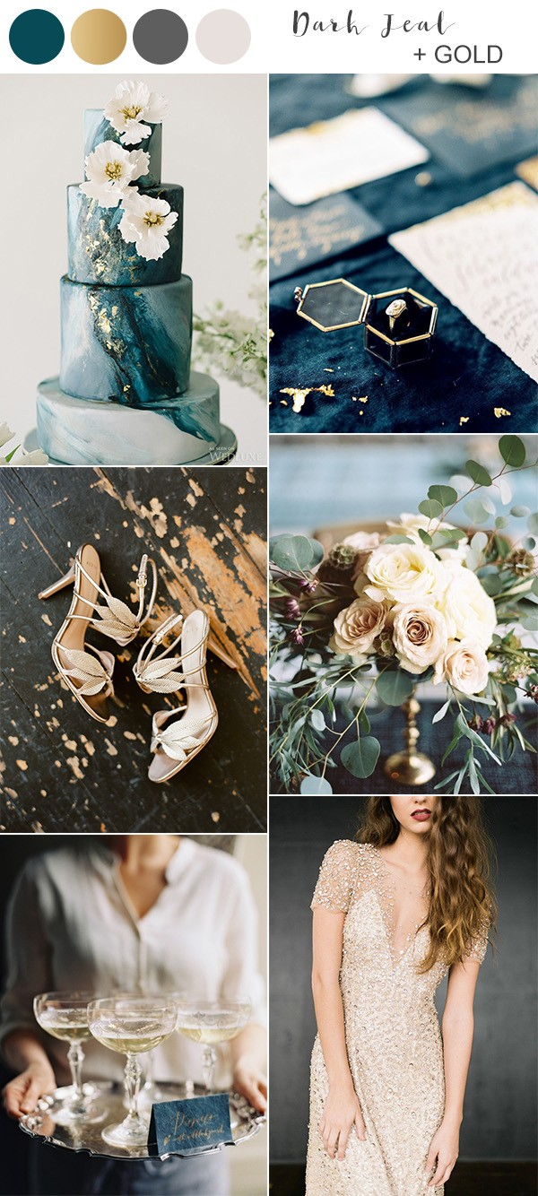vintage dark teal and gold wedding color ideas