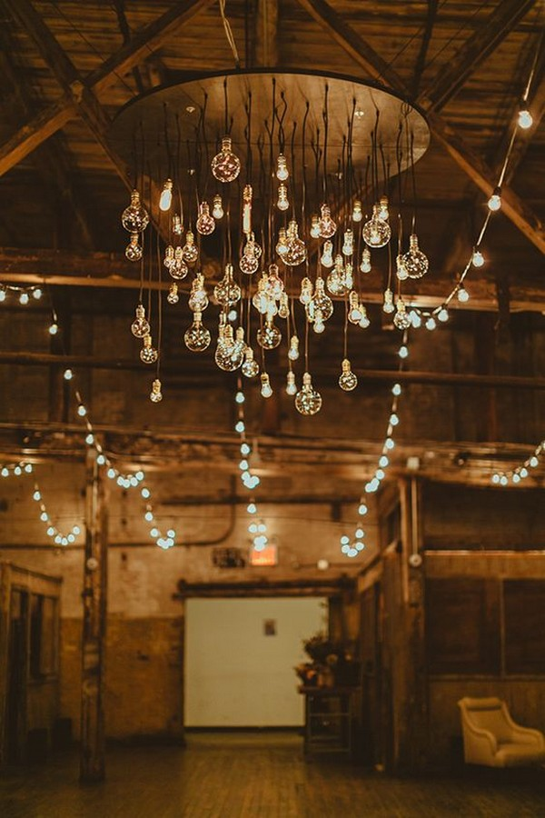 vintage loft wedding ceremony decoration ideas with lights
