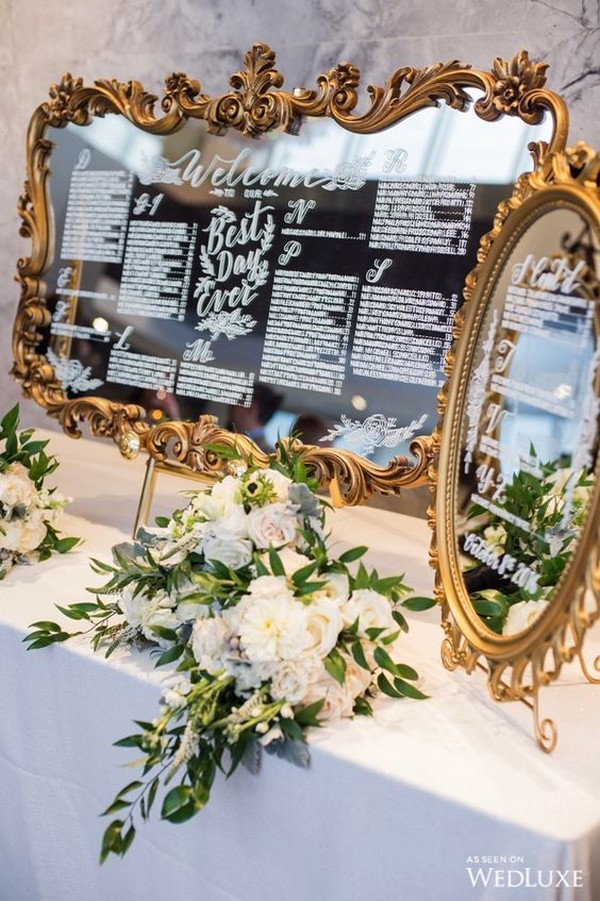 vintage mirror frame wedding seating chart ideas