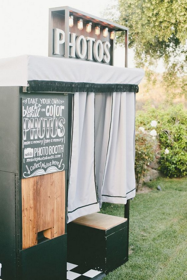 vintage outdoor wedding photo booth