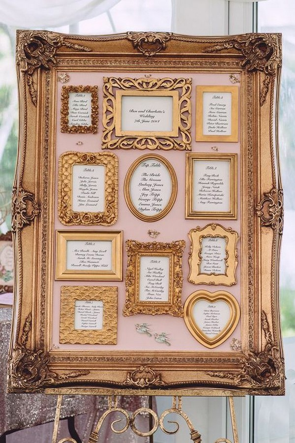 vintage photo frame wedding seating plan ideas