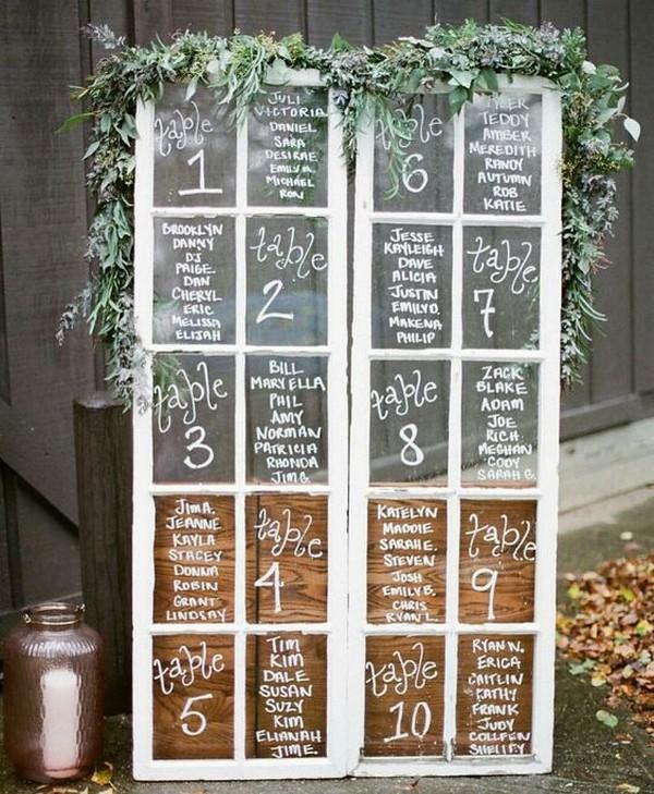 Vintage Window Wedding Seating Chart Ideas