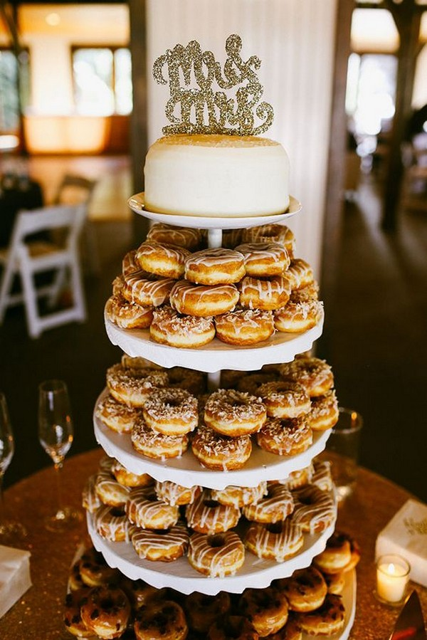 wedding cake alternatives with donut tower