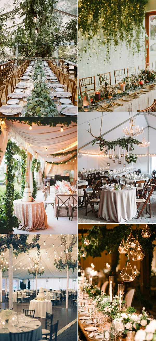 wedding reception decoration ideas with lights and greenery