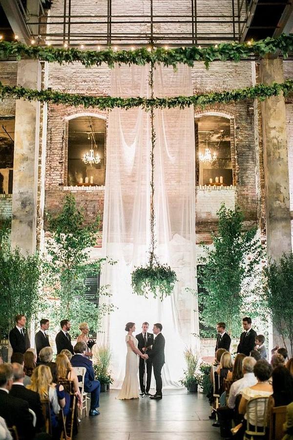 whimsical greenery drapery loft wedding ceremony ideas