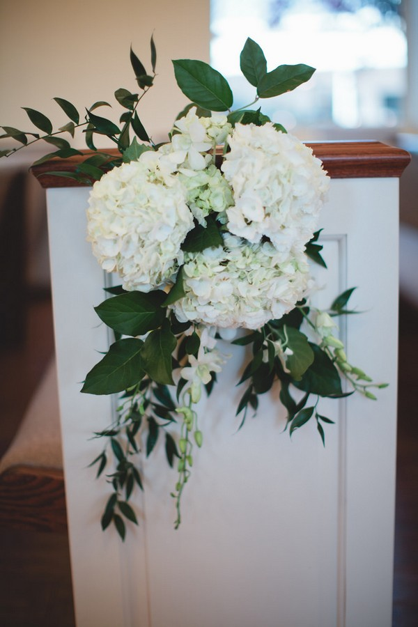 white and greenery church wedding aisle decoration ideas