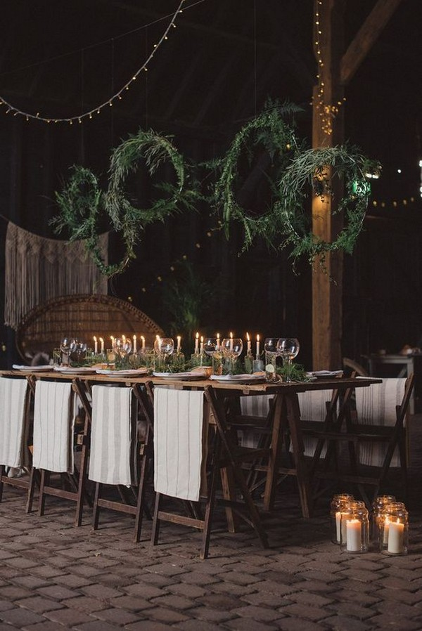 winter wedding reception ideas with greenery and candles