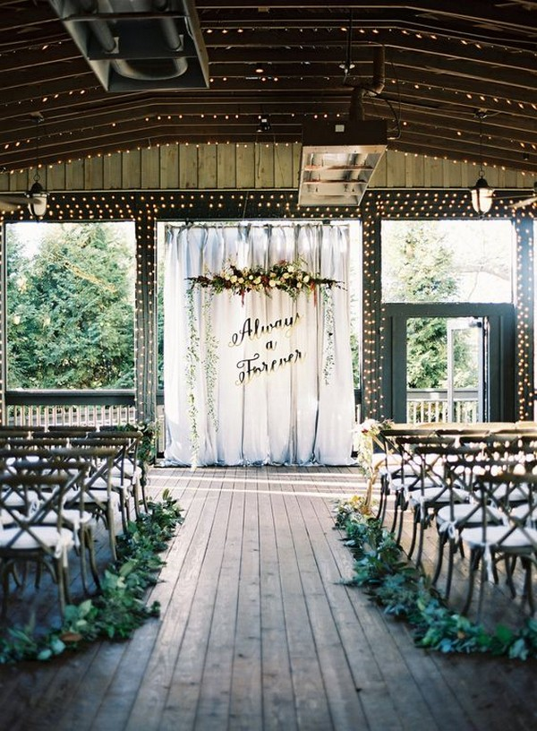 Harry Potter themed wedding ceremony with string lights