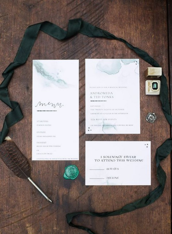 Harry Potter themed wedding invitation set