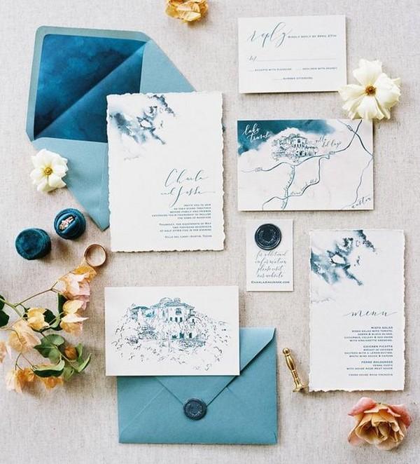 blue Harry Potter themed wedding inviations