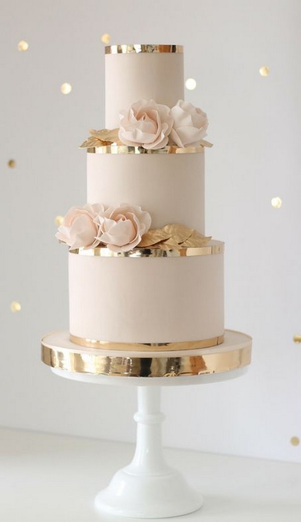 blush pink and gold wedding cake ideas