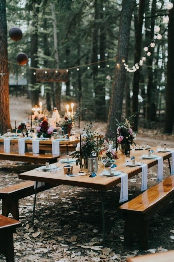 boho woodsy wedding reception decoration ideas