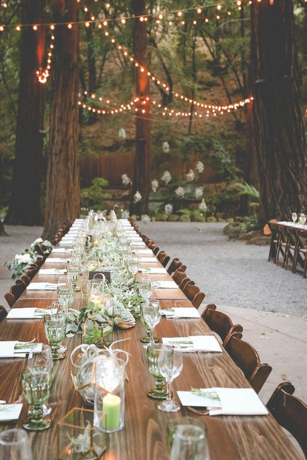 chic forest wedding reception ideas with long table