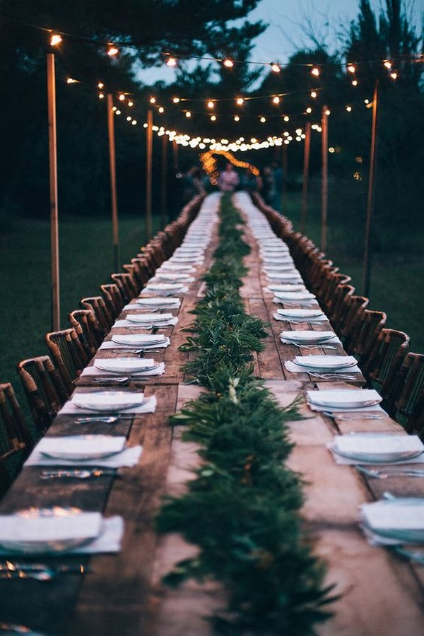 chic long table wedding reception ideas in forest